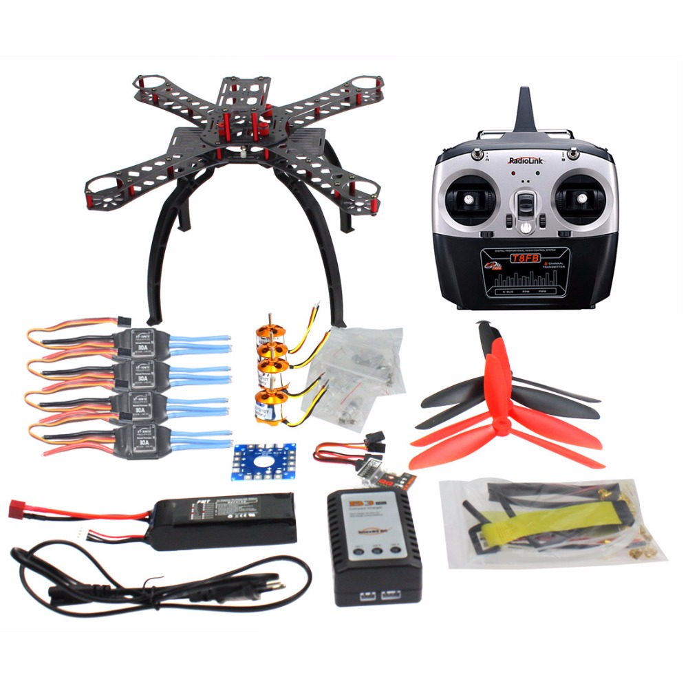 JMT DIY Drone QQ SUPER Multi-rotor Flight Control DIY 310mm Fiberglass Multicopter Kit Radiolink 8CH TX&RX 1400KV Motor 30A ESC cool punk style leather zinc alloy necklace skull with crown style pendant dark brown