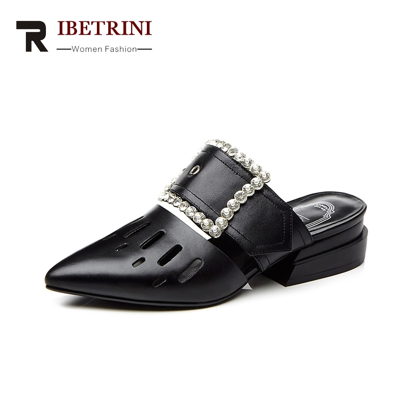 RIBETRINI Brand New Plus Size 34-43 Cow Genuine Leather Woman Shoes Pointed Toe Women Shoes Metal White Summer Sandals ribetrini summer large size 34 40 cow genuine leather woman shoes mix color leisure flats women shoes sneakers