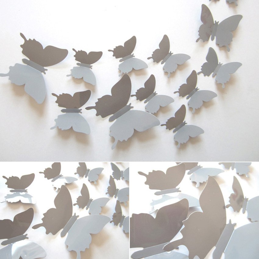 Buy new 12pcs vinyl magnetic butterfly 3d for 3d wall butterfly decoration