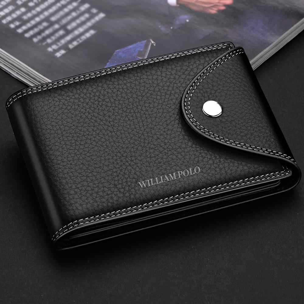 WilliamPOLO Portefeuilles Mannen Echt Lederen business Clutch Bag 2018 Mannelijke Purse Bifold Geld Klem Credit Card Case Cash Clip Portemonnee