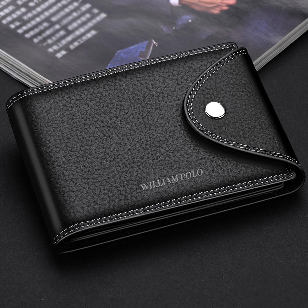 WilliamPOLO Wallets Men Genuine Leather Business Clutch Bag 2018 Male Purse Bifold Money Clamp Credit Card Case Cash Clip Wallet