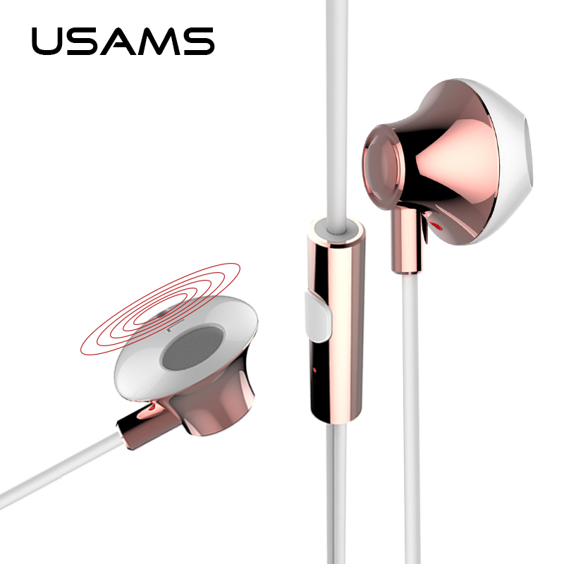 USAMS 3.5mm in-ear Stereo Earphone with Mic Microphone 1.2m HiFi Supper Bass Earphone Earbuds For iPhone iPad Samsung xiaomi smart shoes mijia running shoes