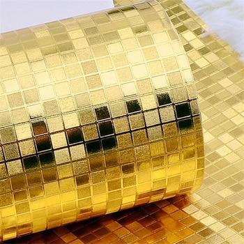 Silber  Und Goldbettwäsche | Beibehang Mosaik Tapete Rolle TV Hintergrund 3D Wandbild Wand Papier Goldfolie Tapete Silber Wandbekleidung Hause Dekoration
