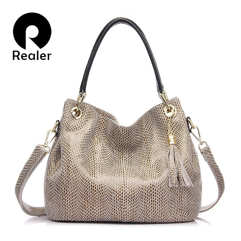 REALER 2018 women shoulder bag hot selling ladies handbags messenger bag genuine leather high quality beige