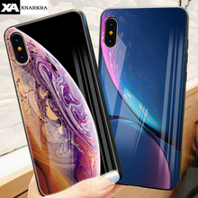 Luxury Star Space Tempered Glass Phone Case For iphone X XS Max XR Back Cover Silicon 7 8 6 6s Plus Cases