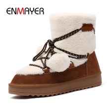 ENMAYER  Basic Round Toe Ankle Kid Suede Flat with Boots Women Winter Snow Booties Size 34-41 ZYL1718
