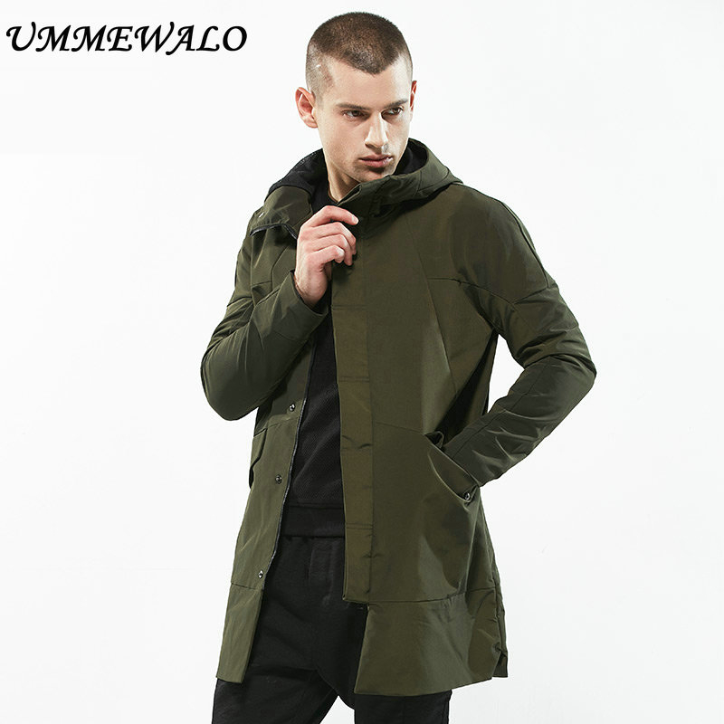 UMMEWALO Casual Long Jacket Hooded Parkas Mens Slim Fit Hoodies Windbreaker Men Autumn Winter Thick Warm Coat Outwear Clothing