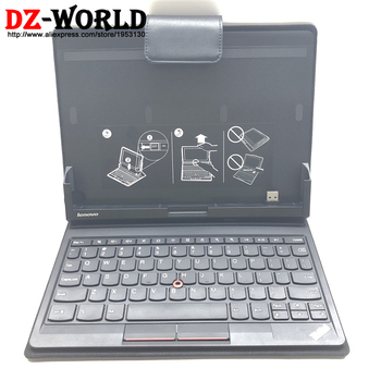 Leather Folio Booklet Stand Folder Case with US Keyboard for Thinkpad Tablet 1838 1839 00HM470 SM10E37708 Black