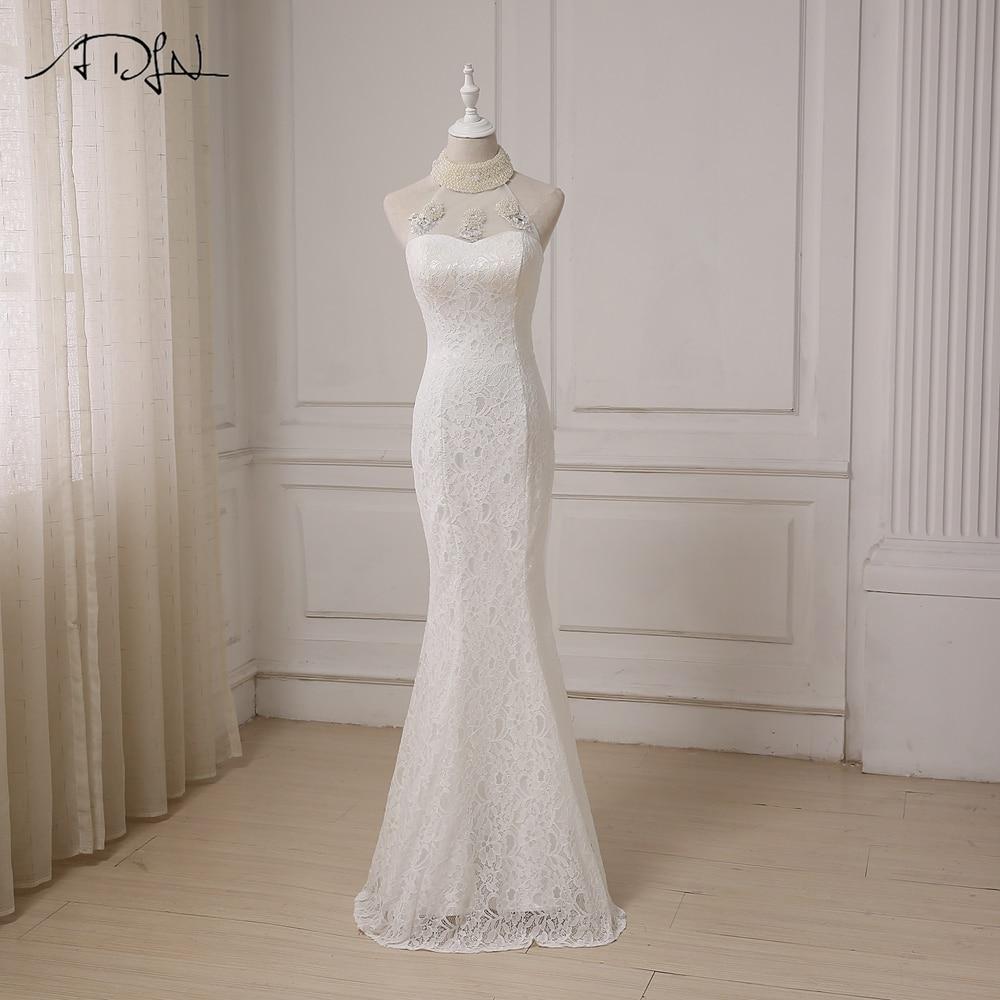 ADLN seksi veselica čipke poročno obleko Halter brez rokavov, dolžine tal, biseri nazaj, zadrgo neveste obleko