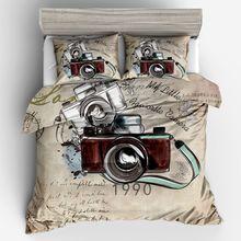 Dropshipping. Exclusivo. Ropa de cama 2/3 Uds doble reina completo tamaño King funda nórdica para cama para niñas y el chico regalo del mundo de la cámara