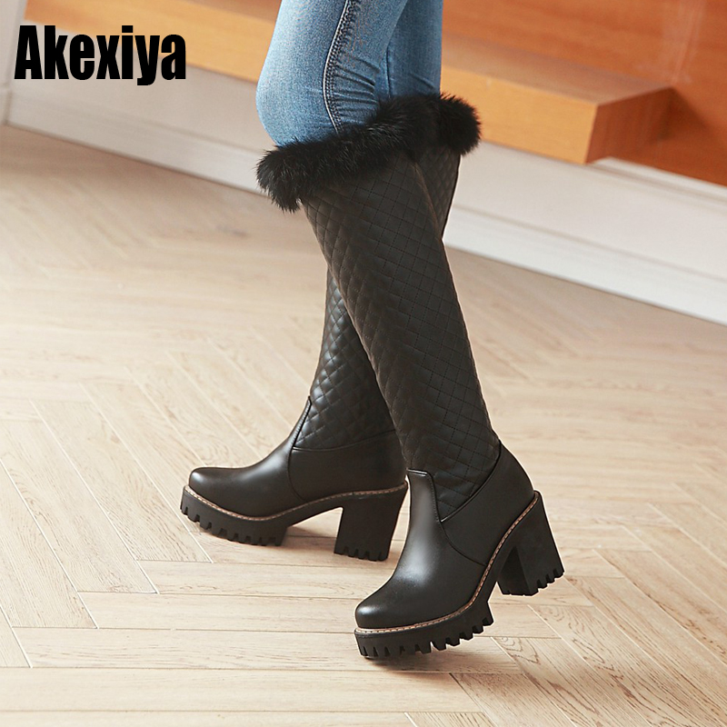 2019 Cotton fashion waterproof snow boots women's knee high boots High heel winter boots platform fur shoes women white black adriatica a3173 52b3q