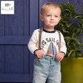 DB4569 dave bella primavera outono 100% do bebê do algodão meninos t camisa do bebê T-shirt roupas infantis toddle tops