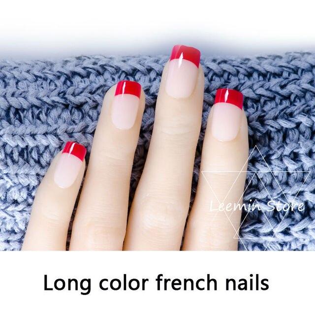 Long French False Nail Red Beige Nails 24 Pcs Set In False Nails