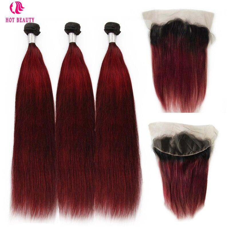 Belleza caliente pelo Ombre vino Color peruana cabello humano recto Bundles con encaje Frontal Pre plegado cordón suizo del pelo de Remy 4 piezas