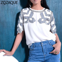 Exclusive Design 2016 New Sleeve Heavy Beaded Embroidery Scalloped BLING Sleeve Female S Chiffon Blouses Fashion