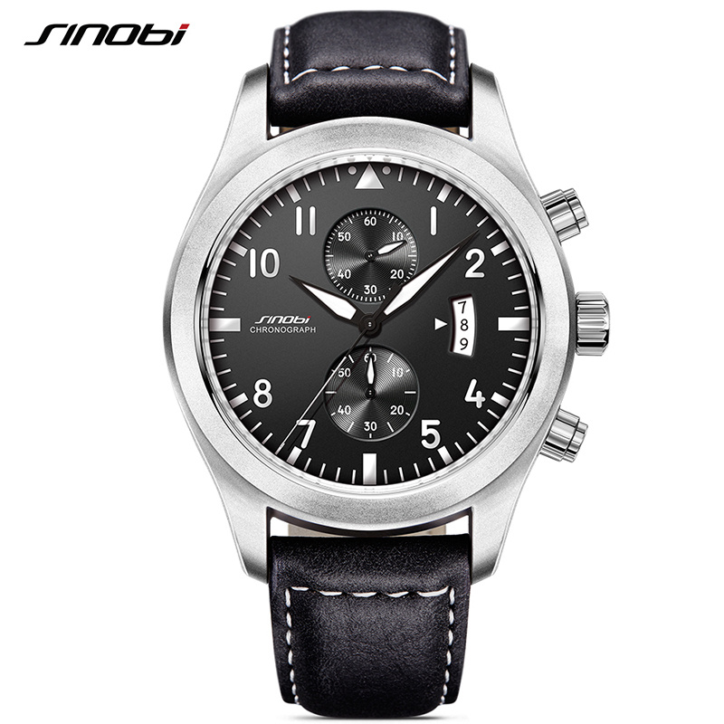 SINOBI Watch Men Military Chronograph Wrist Watches Luxury Brand Date Leather Clock Male Sports Shock Geneva Quartz Wristwatches xinge top brand luxury leather strap military watches male sport clock business 2017 quartz men fashion wrist watches xg1080