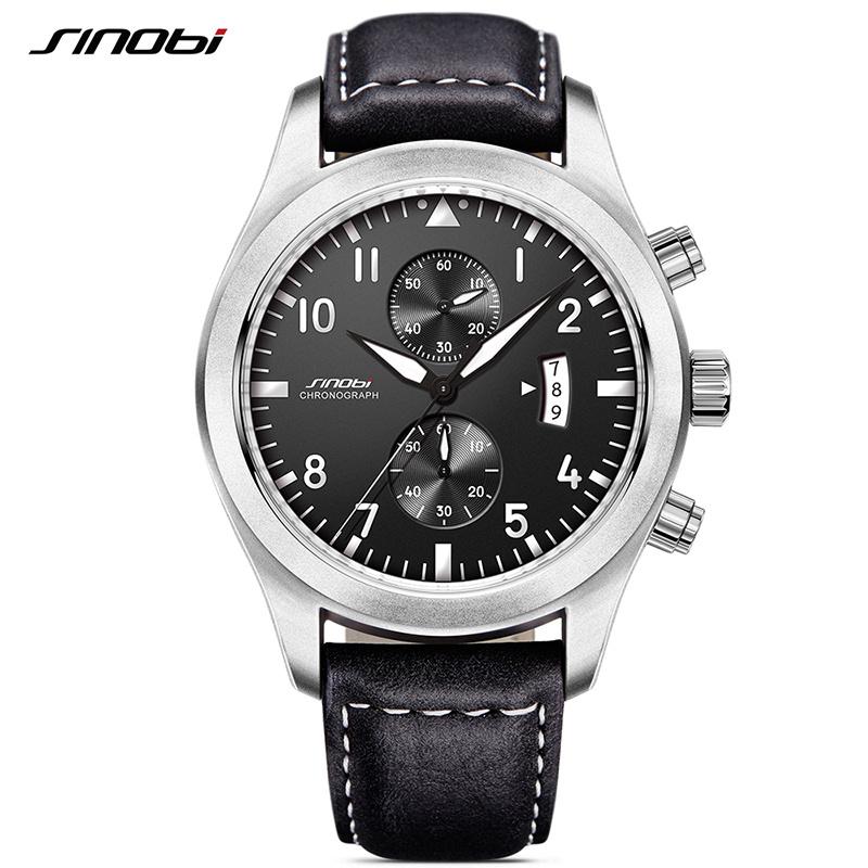 Prix pour Sinobi mens militaire chronographe montres de luxe marque date en cuir horloge mâle de choc de sport genève quartz montres 2017