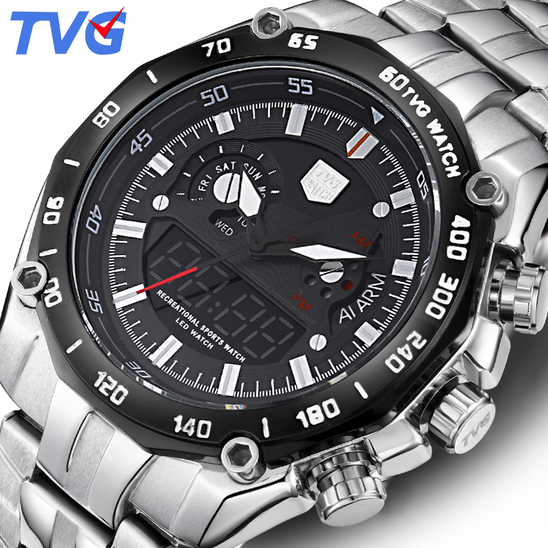 TVG Luxury Brand Watch Men Waterproof Quartz Men Sports Watches Analog Military LED Digital Watch WristWatch Relogio Masculino tvg male sports watch men full stainless steel waterproof quartz watch digital analog dual display men s led military watches