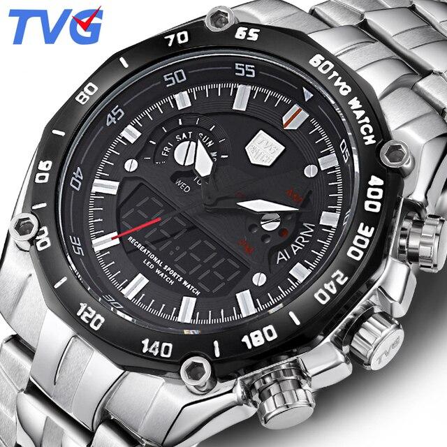 0f0adf97edb TVG Relógio De Marca de Luxo Homens Relógio De Quartzo Homens Esportes  Relógios Analógicos Militar À