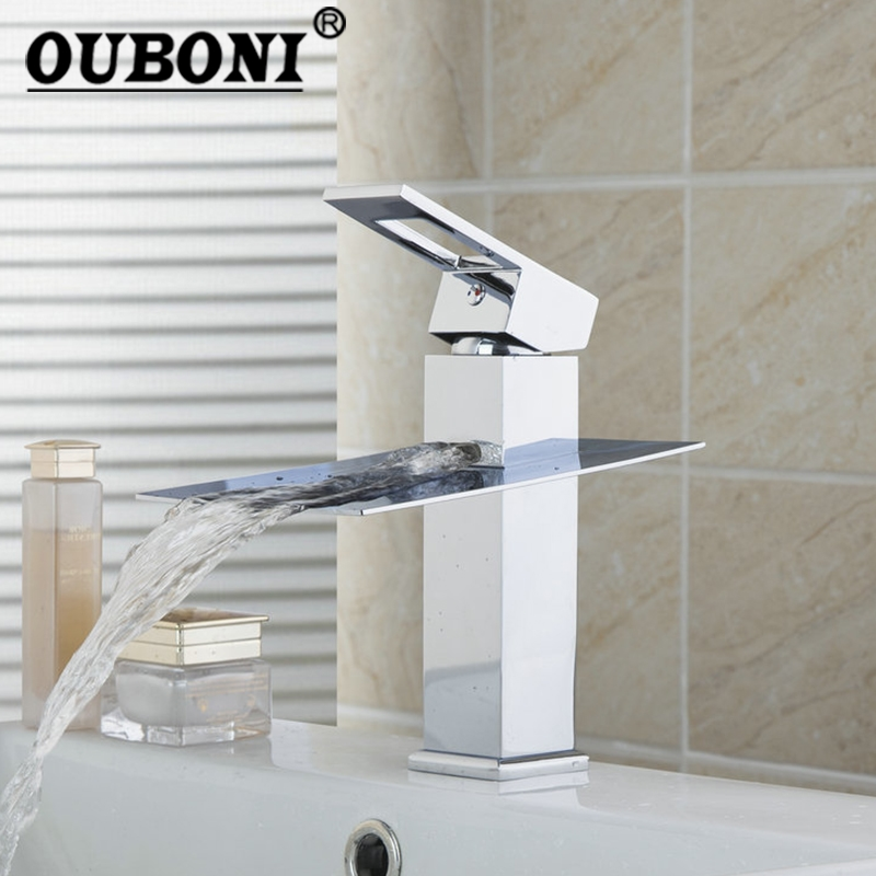 OUBONI Short Waterfall Bathroom Basin Sink Water Mixer Tap Chrome Polish Deck Mount Wide/Single Handle Vessel Tap Mixer Faucet contemporary waterfall spout basin faucet single handle bathroom vessel mixer tap chrome finished