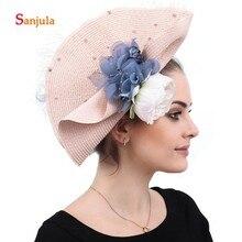 Pink Imitation Straw Bridal Wedding Hats with Flowers 2019 Sector Shape Europen Women Party Headwear Headband H187