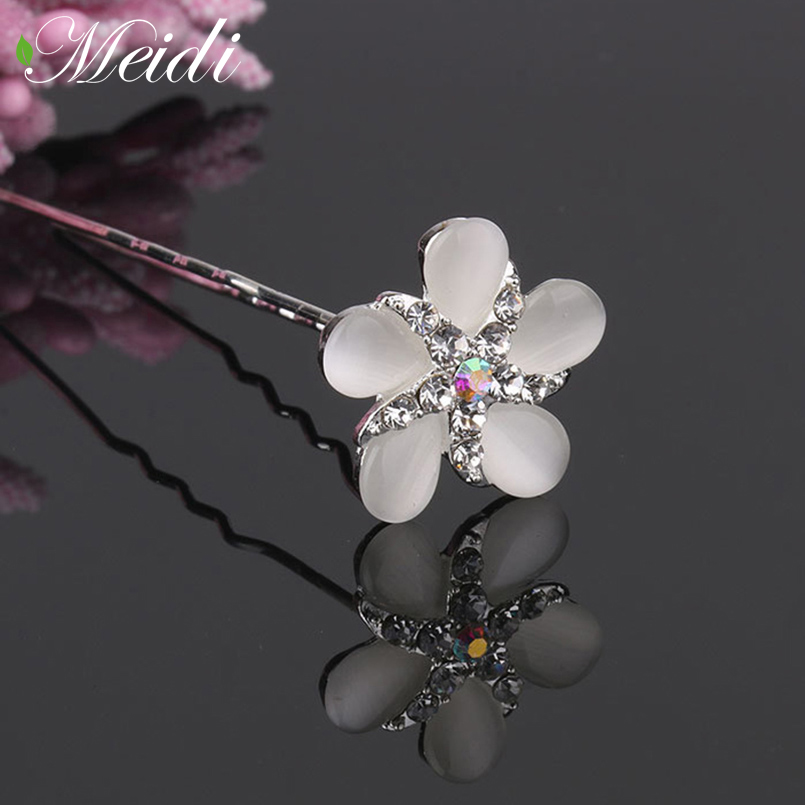 MEIDI Trendy Style Crystal Hairpin Hair Jewelry Bridal Flower Shape Metal Hairpin Legs Hair Fork for Women Wedding Accessories