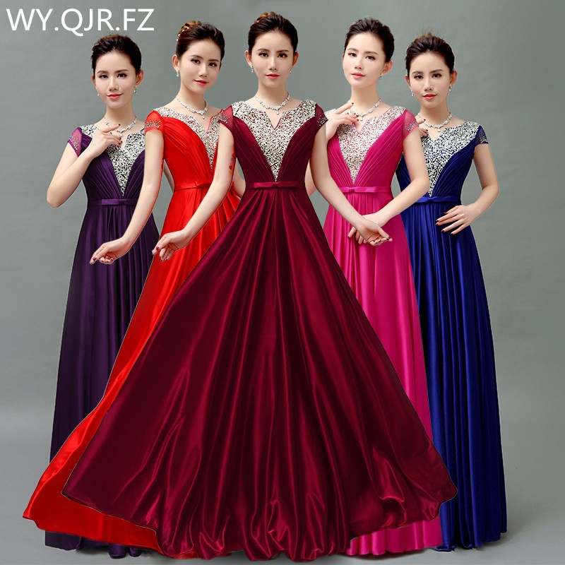 QLY5189#Burgundy Red blue purple Lace up bride's wedding toastery hostess's chorus costume long   Bridesmaid     dresses   wholesale