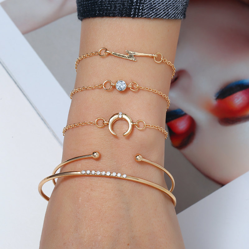 HOCOLE 5Pcs/Set Handmade Gold Metal Charm Link Chain Bracelet Bangle Sets For Women Fashion Moon Crystal Female Jewelry