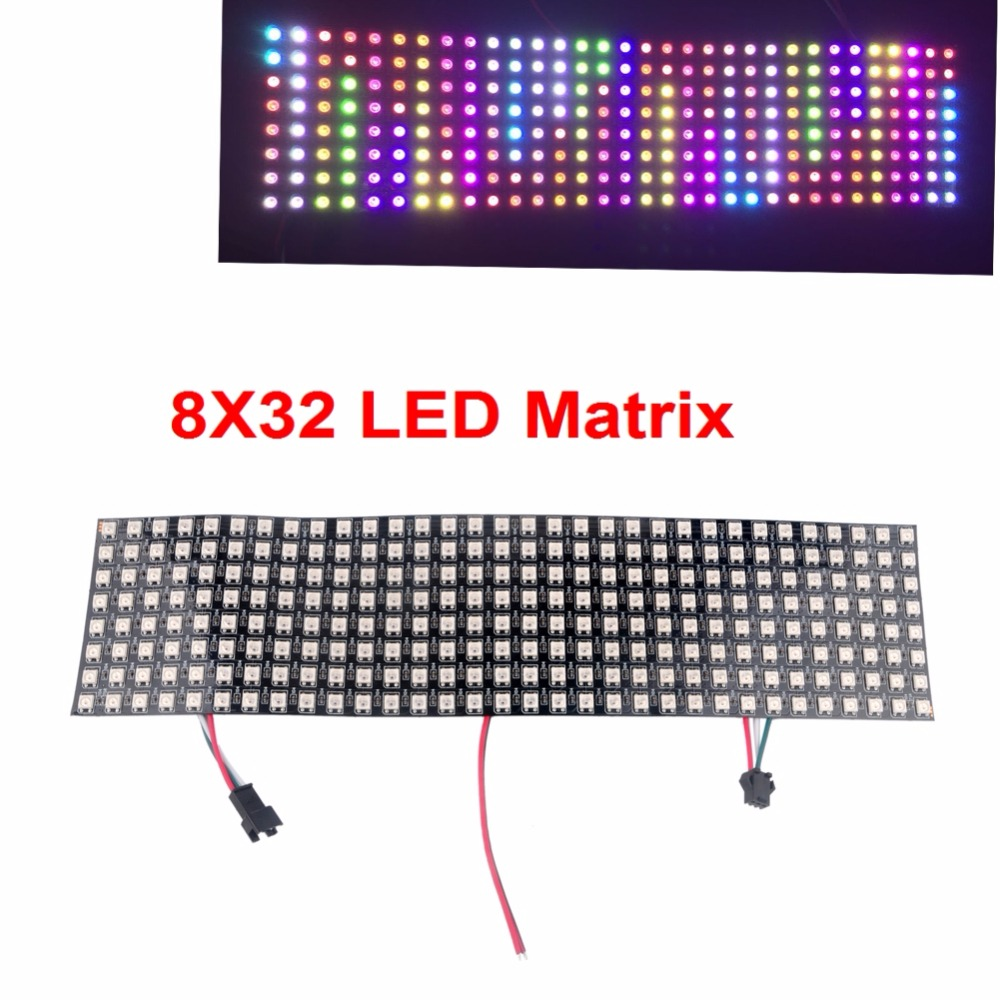 WS2812 5050 8x32 RGB Flexible LED Panel Matrix Individually Addressable LED Programmable Pixel Display Screen for Arduino FZ2818