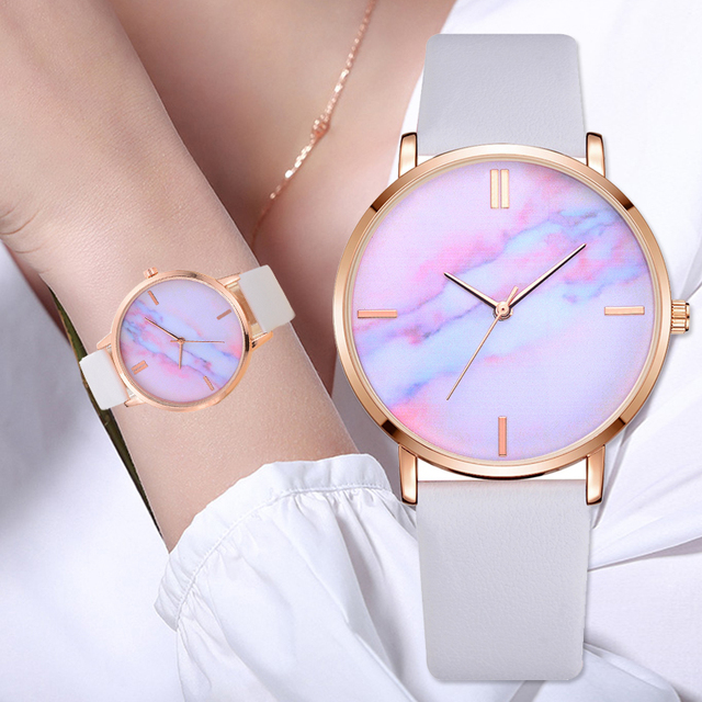 Luxury Leather Band Marble Dial Wrist Watch for Women