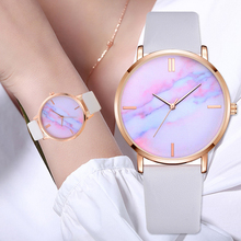 2018 Lvpai Brand Women Watches Luxury Leather Strip Marble Dial Dress Wristwatch