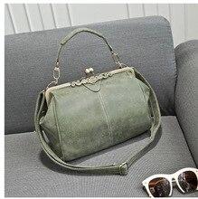 2016 новый дамской одежды старинные нубук кожа PU сумочка vintage британский стиль сумка женщины сумка Клип мешок