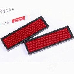 2018 جديد اسم علامة LED اسم شارة مع المغناطيس و دبوس-الأحمر التمرير رسالة تسجيل 44x11 النقاط قابلة للشحن Led اسم لعلامة الحدث
