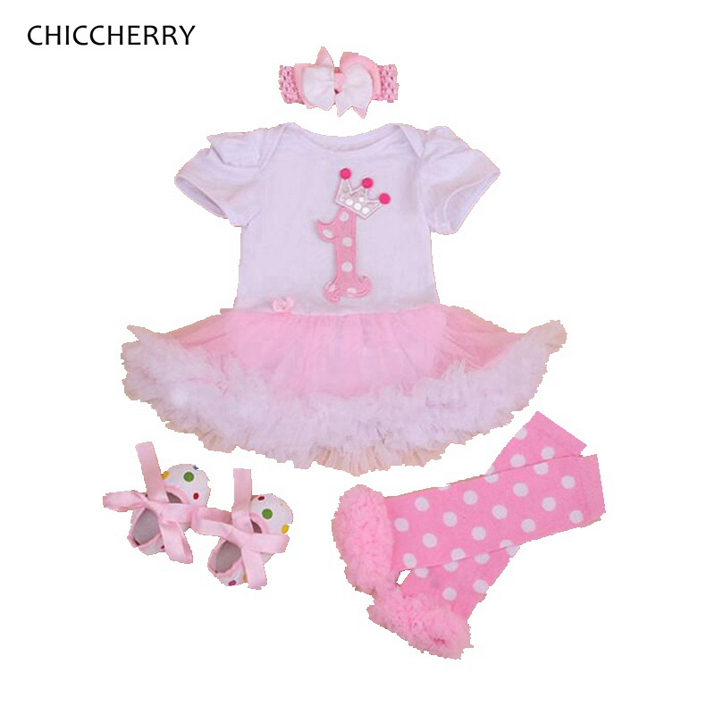 Princess Crown 1st Birthday Outfits 4PCS Newborn Tutu Baby Girl Summer Clothing Sets Fashion Infant Clothes Toddler Clothing crown princess 1 year girl birthday dress headband infant lace tutu set toddler party outfits vestido cotton baby girl clothes