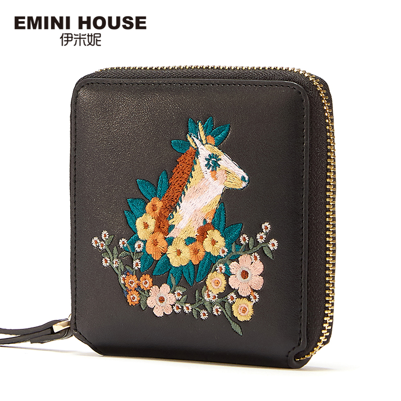 EMINI HOUSE Short Wallet Women Split Leather Clutch Embroidery Flap Bag Zipper Coin Purse Small Wallet Card Holder