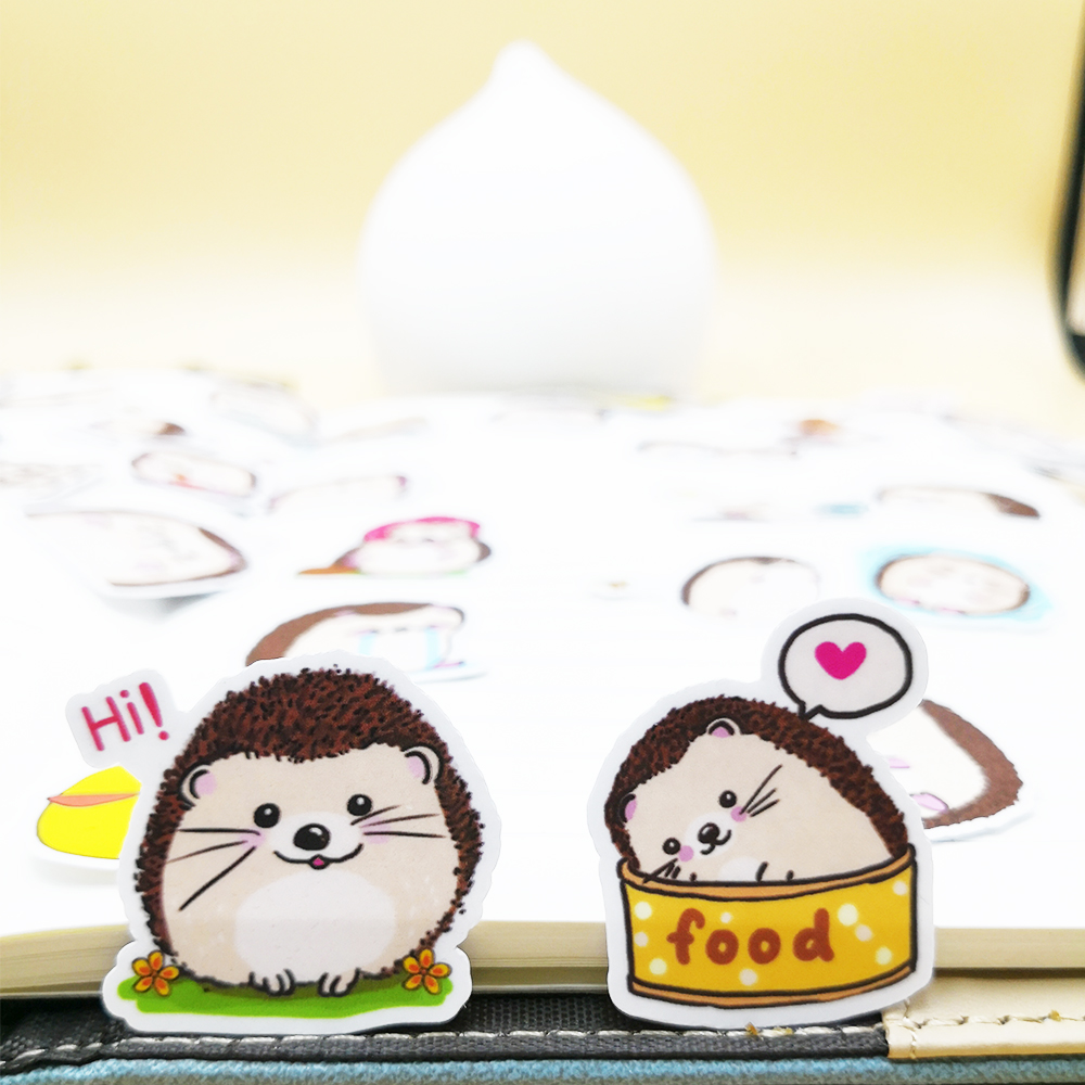 20/40pcs Lovely Little Hedgehog Cartoon Diary Sticker Clip Art Skateboard Doodle Notebook Sticker Random Not Repeat