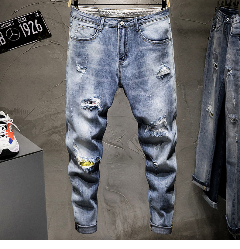 KSTUN Ripped Jeans Men Cropped Jeans Blue Stretch Tapered Distressed Patchwork Frayed Cowboys Denim