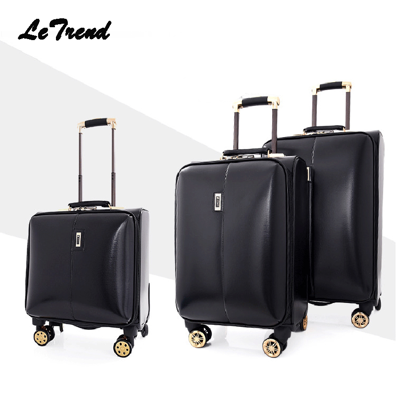 Letrend leather Rolling Luggage Spinner Men Wheel Suitcases 24/16 inch Small Business Trolley Women Cabin luggage Travel Bag letrend oxford red rolling luggage suitcases on wheel men business trolley spinner fashion cabin luggage travel bag soft trunk