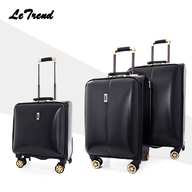 Aliexpress.com : Buy Letrend leather Rolling Luggage Spinner Men ...