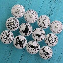 1 Uds. Perilla de cerámica redonda decorativa de dibujo en blanco y negro, accesorios del armario, tiradores de cajón de manija de puerta de muebles modernos de armario