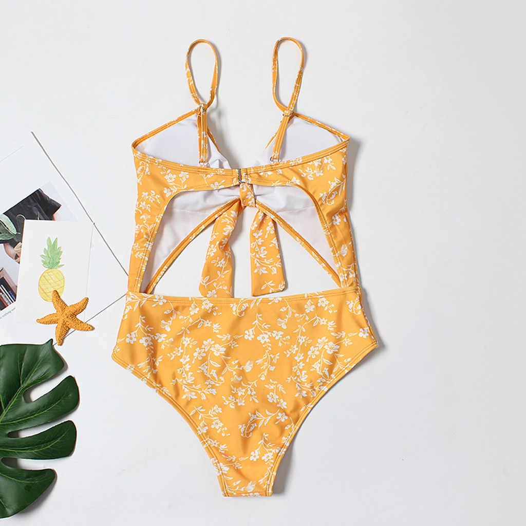 ملابس السباحة المرأة مثير الأصفر قطعة واحدة ملابس السباحة المرأة الصيف 2019 مثير الرياضة الاستحمام لباس سباحة للنساء Stroj Kapielowy