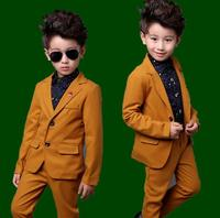 2018 New Children Clothing Set yellow Gentleman Boys Party Wedding Suits Baby Boy Formal Plaid Long Sleeved Sets Kids Clothes