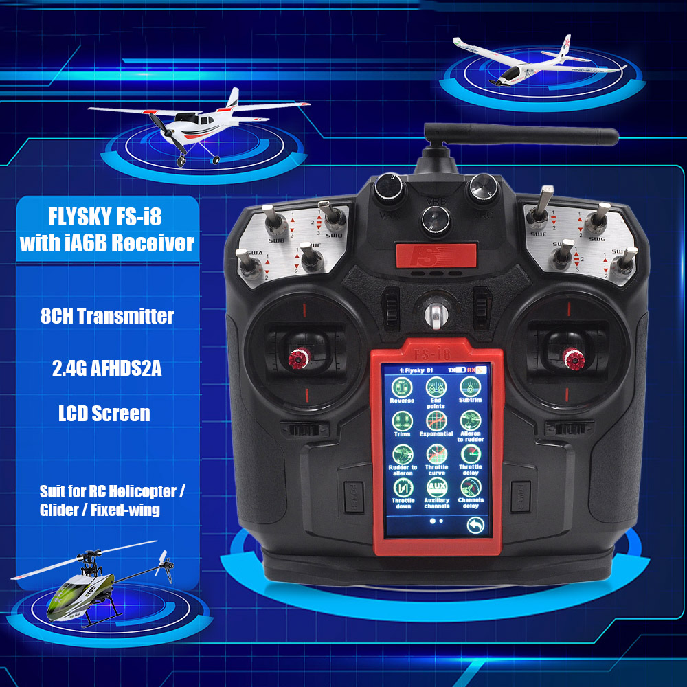 FLYSKY i8 RC Car RC Drone 8CH 2.4GHz AFHDS 2A LCD Transmitter for Fixed-Wing Glider RC Quadcopter Aircraft Parts microzone mc8b 2 4g 8ch rc transmitter mc8re 9ch receiver for rc car boat drone aircraft helicopter multicopter universal