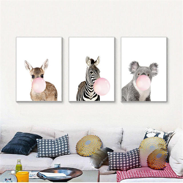 YongHe Nordic Decorative Painting Bubble Animals Customizable Sizes Spray  Oil Paintings Wall Pictures For Child Bedroom