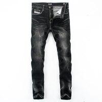 Streetwear Famous Brand Logo Dsel Jeans Men Solid Black Color Printed Jeans Trousers Slim Straight Denim
