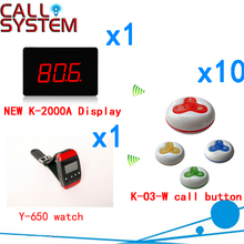 Wireless Table Bell Calling System Call Service Guest Paging Buzzer Restaurant/Coffee /Office(1 display+1 watch+10 call button )