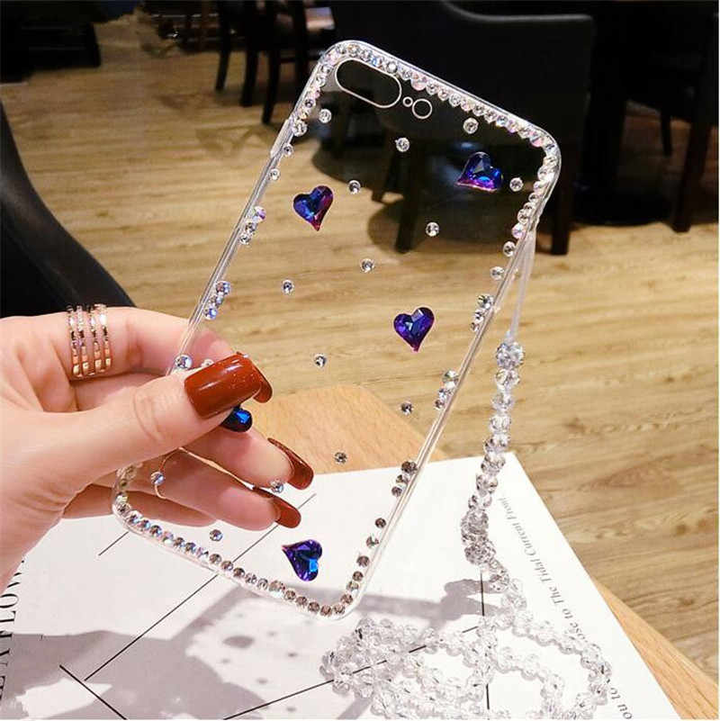 For xiaomi Redmi 4X 4A 5A 6A Note 3 4 5 MIX2 2S MAX 2 5S 5C 5X 6 Luxury blue heart rhinestone crystal lanyard phone case cover