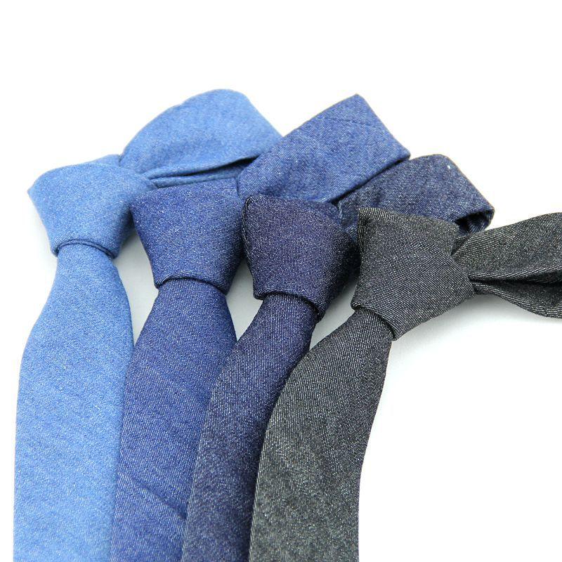 Men's Fashion Neck Ties For Men 6cm Skinny Denim Cotton Ties Black Blue Solid Necktie For Man Narrow Gravata Business Neckties