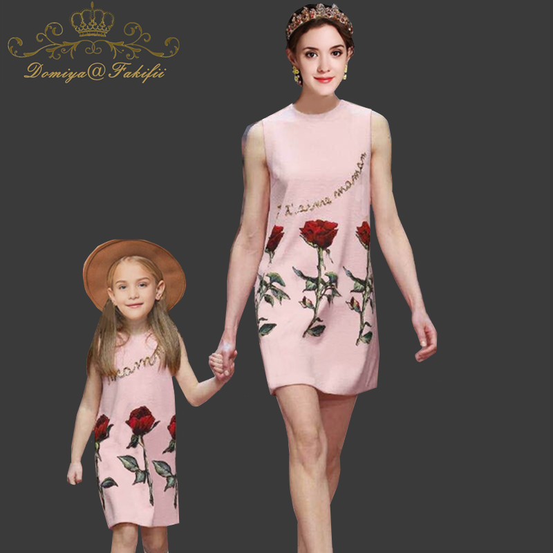 2018 Summer Fashion Mommy and Me Fashion Dresses Mother Daughter Dress Flower Print Sequined Sleeveless Family Matching Clothes 1 toy т58714