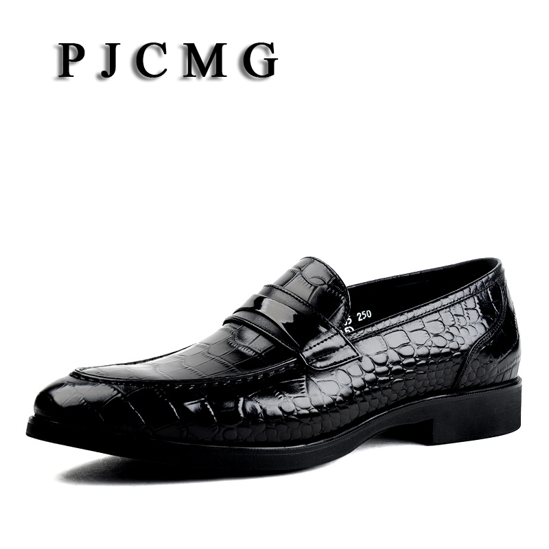 PJCMG Black/Red/Blue Crocodile Pattern Men Loafers Genuine Leather Casual Men Flats Oxford For Moccasin Driving Man Shoes pjcmg new crocodile moccasins men genuine embossed leather breathable lazy casual flats loafers driving business men flat shoes